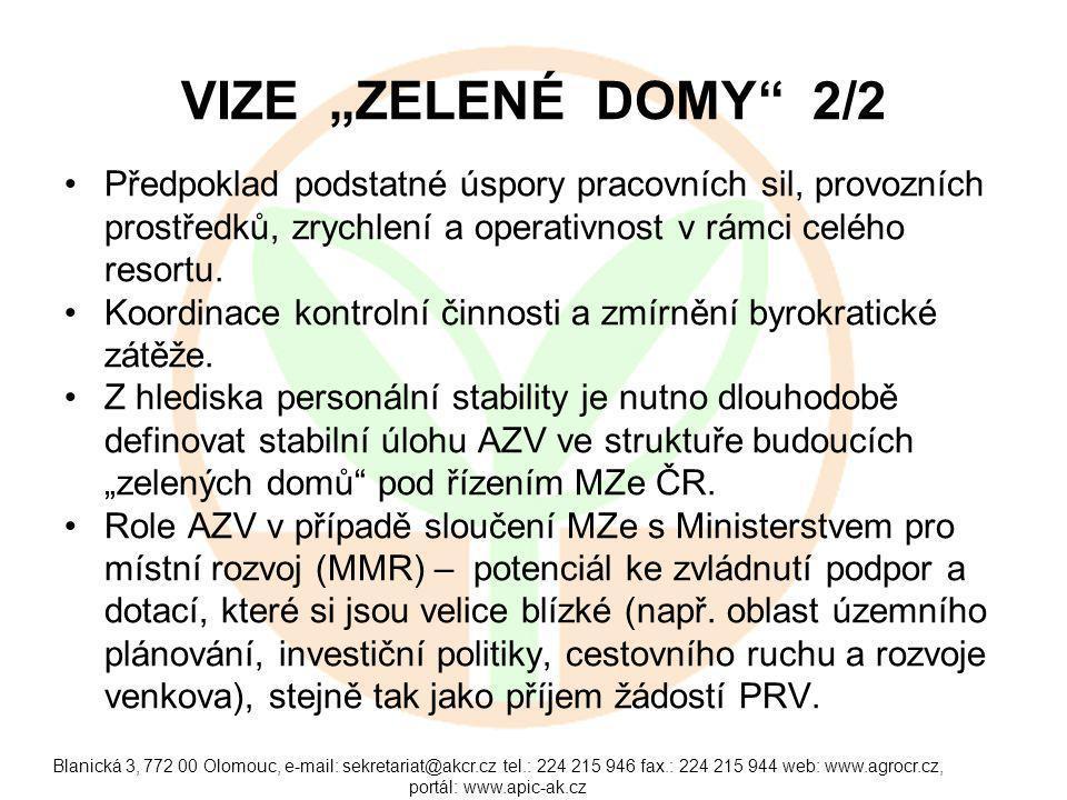 """Blanická 3, 772 00 Olomouc, e-mail: sekretariat@akcr.cz tel.: 224 215 946 fax.: 224 215 944 web: www.agrocr.cz, portál: www.apic-ak.cz VIZE """"ZELENÉ DOMY 2/2 Předpoklad podstatné úspory pracovních sil, provozních prostředků, zrychlení a operativnost v rámci celého resortu."""