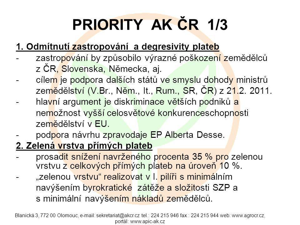 Blanická 3, 772 00 Olomouc, e-mail: sekretariat@akcr.cz tel.: 224 215 946 fax.: 224 215 944 web: www.agrocr.cz, portál: www.apic-ak.cz PRIORITY AK ČR
