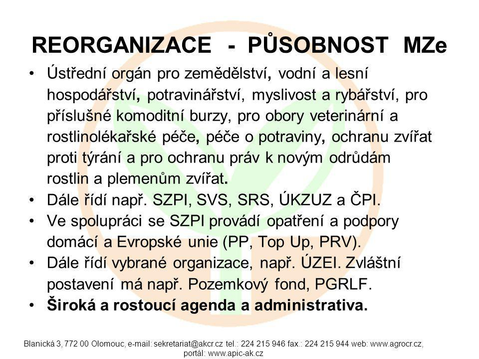 Blanická 3, 772 00 Olomouc, e-mail: sekretariat@akcr.cz tel.: 224 215 946 fax.: 224 215 944 web: www.agrocr.cz, portál: www.apic-ak.cz REORGANIZACE -