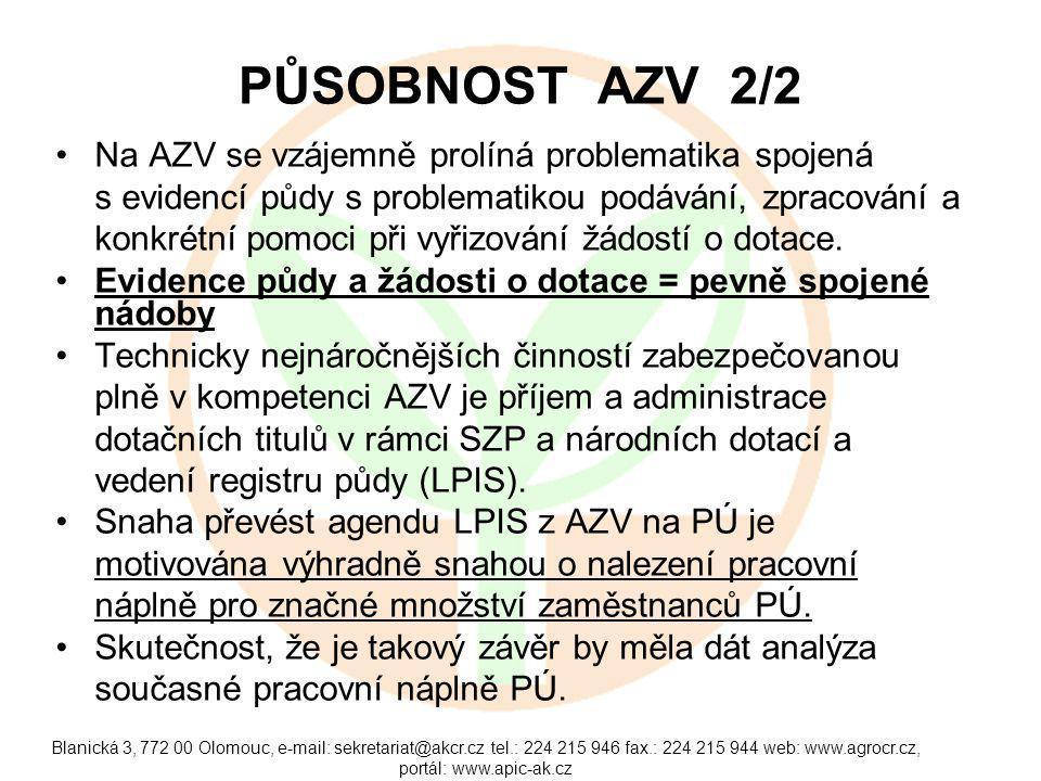 Blanická 3, 772 00 Olomouc, e-mail: sekretariat@akcr.cz tel.: 224 215 946 fax.: 224 215 944 web: www.agrocr.cz, portál: www.apic-ak.cz PŮSOBNOST AZV 2/2 Na AZV se vzájemně prolíná problematika spojená s evidencí půdy s problematikou podávání, zpracování a konkrétní pomoci při vyřizování žádostí o dotace.
