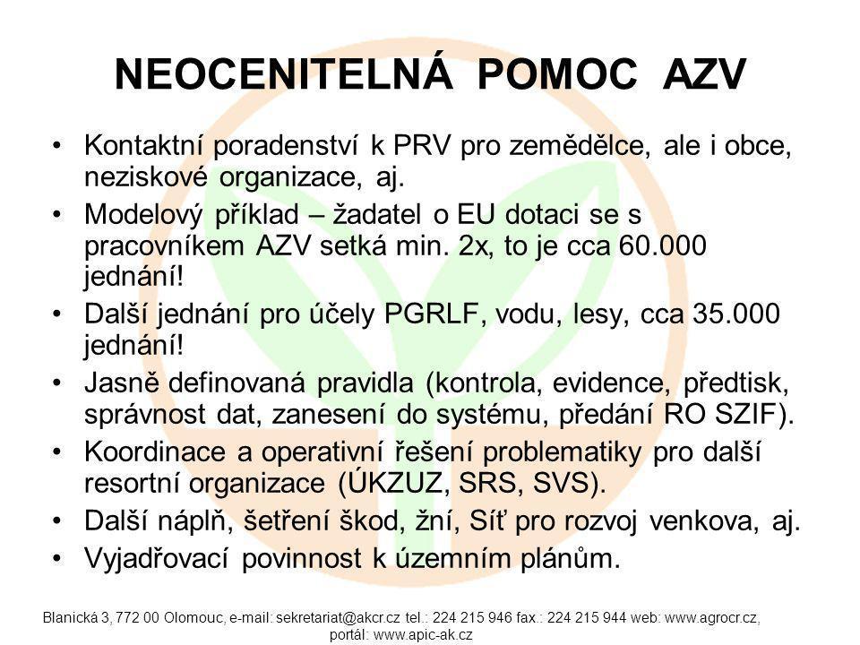 Blanická 3, 772 00 Olomouc, e-mail: sekretariat@akcr.cz tel.: 224 215 946 fax.: 224 215 944 web: www.agrocr.cz, portál: www.apic-ak.cz NEOCENITELNÁ POMOC AZV Kontaktní poradenství k PRV pro zemědělce, ale i obce, neziskové organizace, aj.
