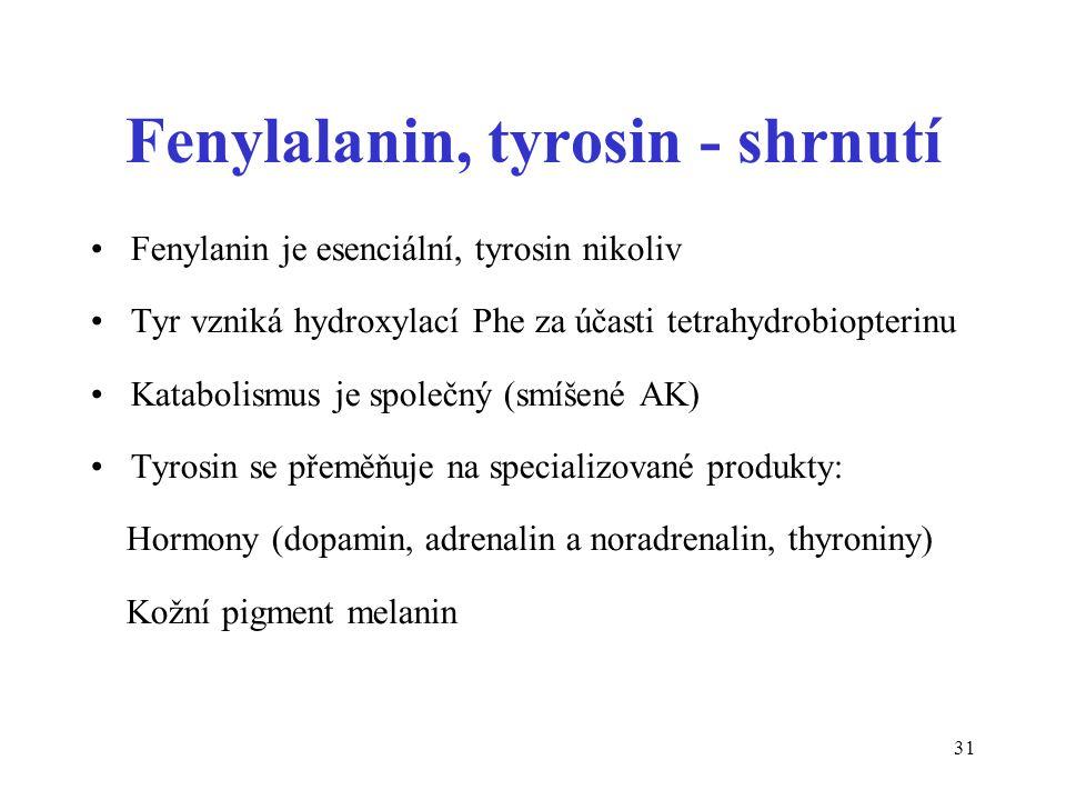 31 Fenylalanin, tyrosin - shrnutí Fenylanin je esenciální, tyrosin nikoliv Tyr vzniká hydroxylací Phe za účasti tetrahydrobiopterinu Katabolismus je společný (smíšené AK) Tyrosin se přeměňuje na specializované produkty: Hormony (dopamin, adrenalin a noradrenalin, thyroniny) Kožní pigment melanin