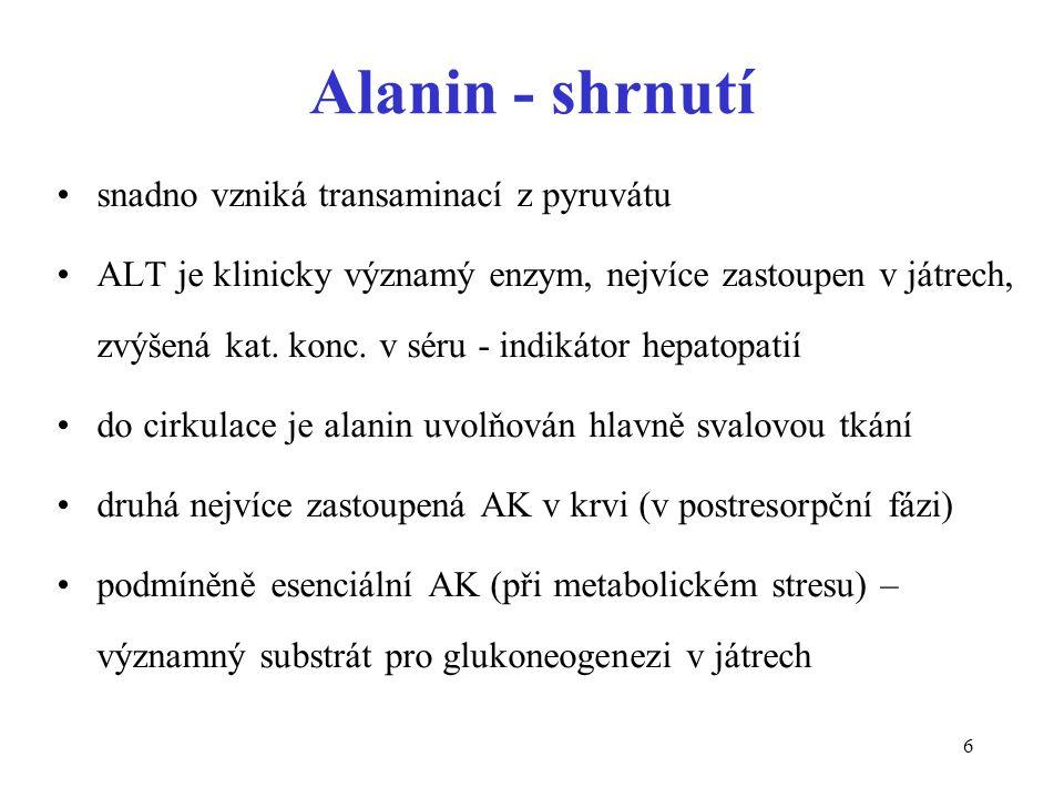 6 Alanin - shrnutí snadno vzniká transaminací z pyruvátu ALT je klinicky významý enzym, nejvíce zastoupen v játrech, zvýšená kat. konc. v séru - indik