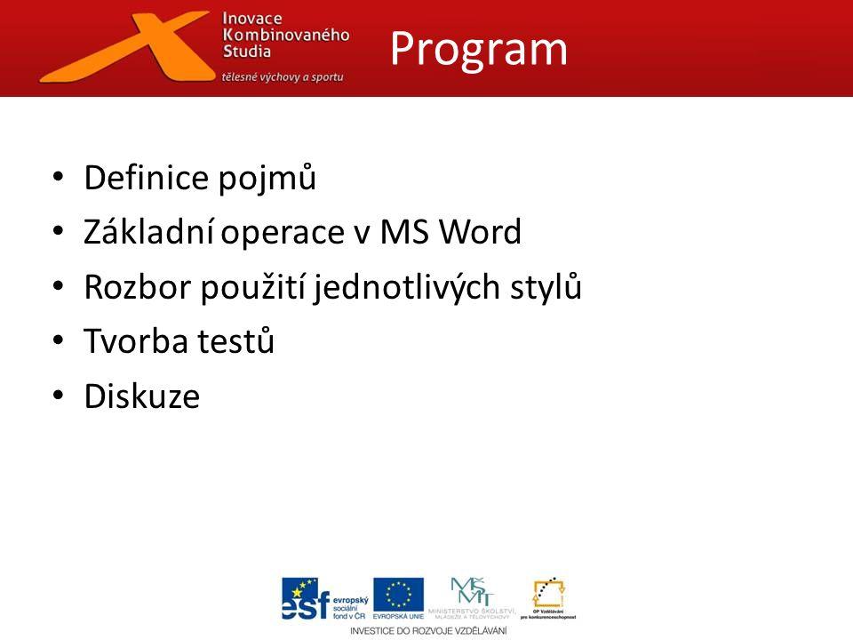 Definice pojmů Základní operace v MS Word Rozbor použití jednotlivých stylů Tvorba testů Diskuze Program