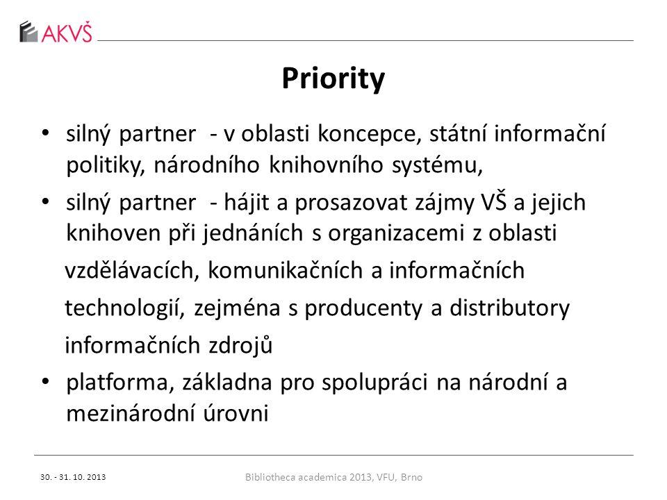 Priority silný partner - v oblasti koncepce, státní informační politiky, národního knihovního systému, silný partner - hájit a prosazovat zájmy VŠ a jejich knihoven při jednáních s organizacemi z oblasti vzdělávacích, komunikačních a informačních technologií, zejména s producenty a distributory informačních zdrojů platforma, základna pro spolupráci na národní a mezinárodní úrovni Bibliotheca academica 2013, VFU, Brno 30.