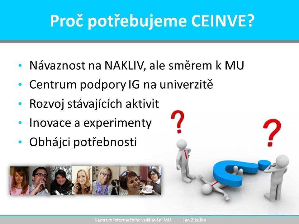 Návaznost na NAKLIV, ale směrem k MU Centrum podpory IG na univerzitě Rozvoj stávajících aktivit Inovace a experimenty Obhájci potřebnosti Proč potřebujeme CEINVE.