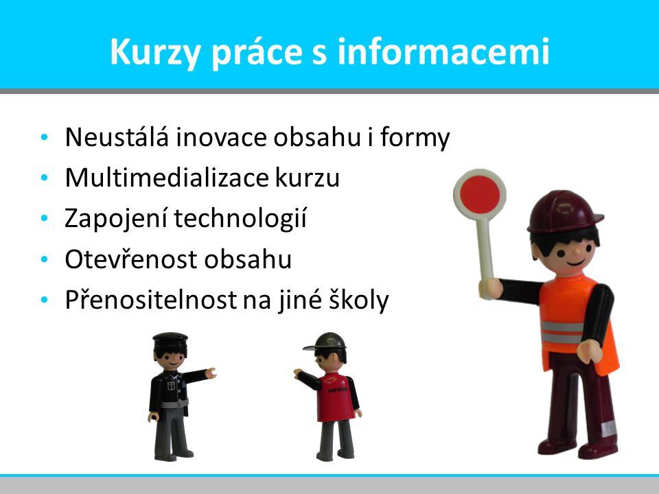 Kurzy práce s informacemi Neustálá inovace obsahu i formy Multimedializace kurzu Zapojení technologií Otevřenost obsahu Přenositelnost na jiné školy