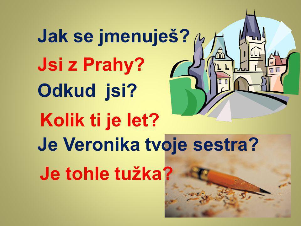 Jak se jmenuješ? Odkud jsi? Jsi z Prahy? Kolik ti je let? Je Veronika tvoje sestra? Je tohle tužka?