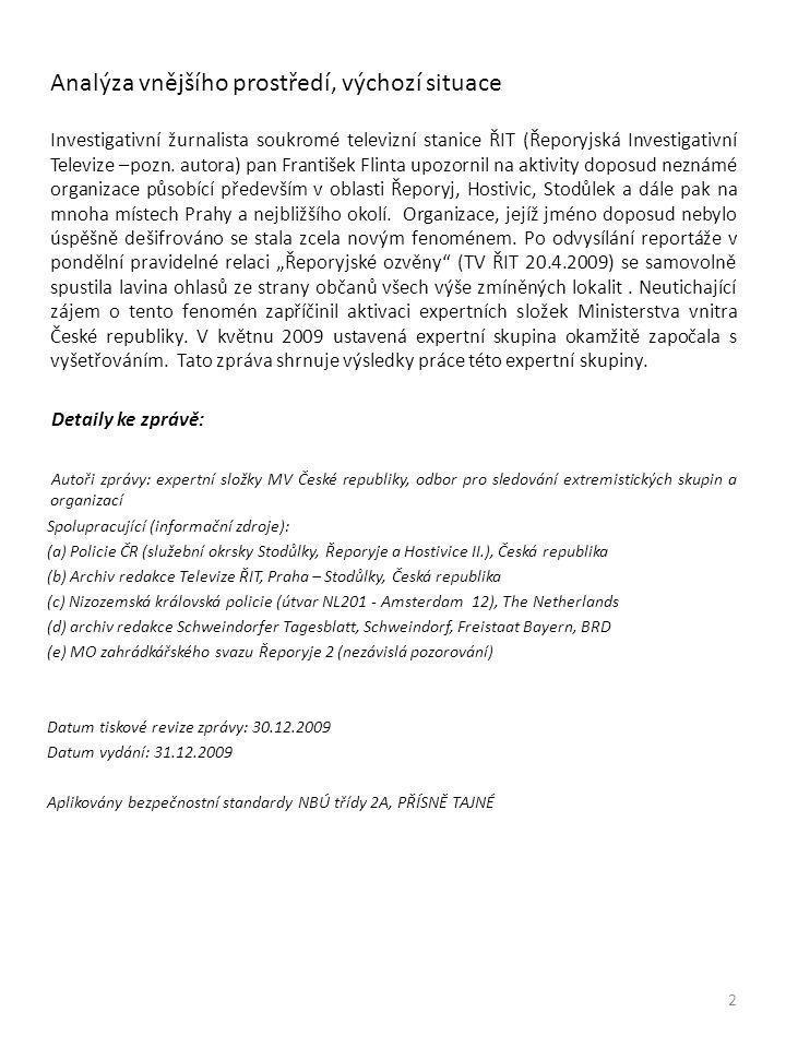 Analýza vnějšího prostředí, výchozí situace Investigativní žurnalista soukromé televizní stanice ŘIT (Řeporyjská Investigativní Televize –pozn.