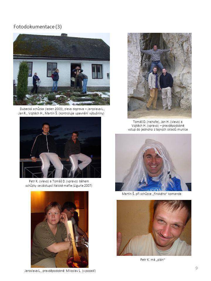 Fotodokumentace (3) Dubecká schůzka (leden 2003), zleva doprava – Jaroslava L., Jan R., Vojtěch H., Martin Š.