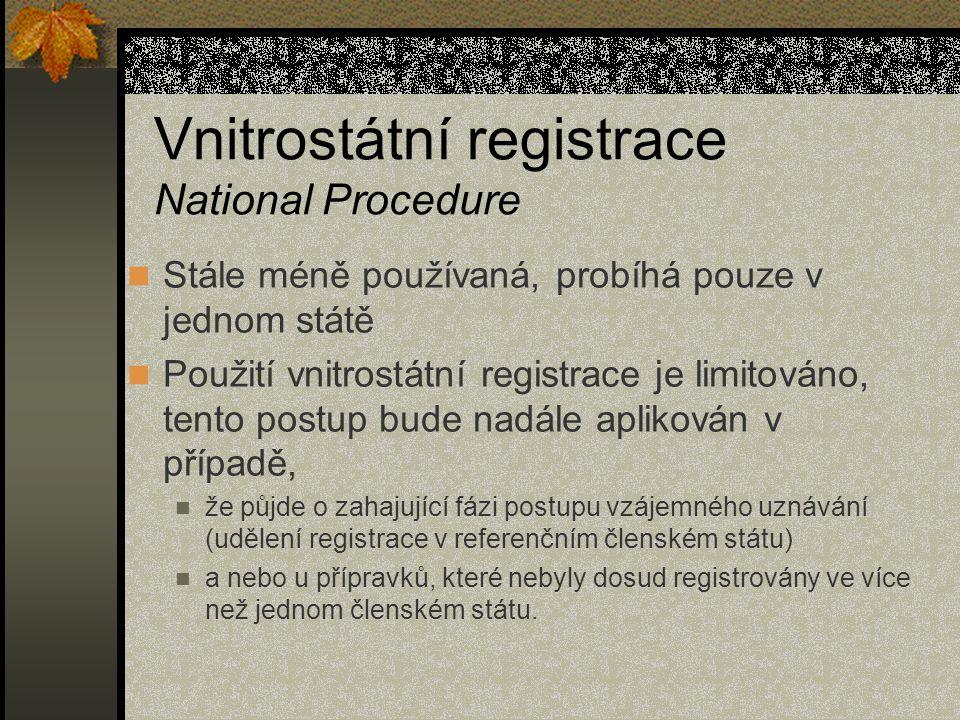 Vnitrostátní registrace National Procedure Stále méně používaná, probíhá pouze v jednom státě Použití vnitrostátní registrace je limitováno, tento postup bude nadále aplikován v případě, že půjde o zahajující fázi postupu vzájemného uznávání (udělení registrace v referenčním členském státu) a nebo u přípravků, které nebyly dosud registrovány ve více než jednom členském státu.