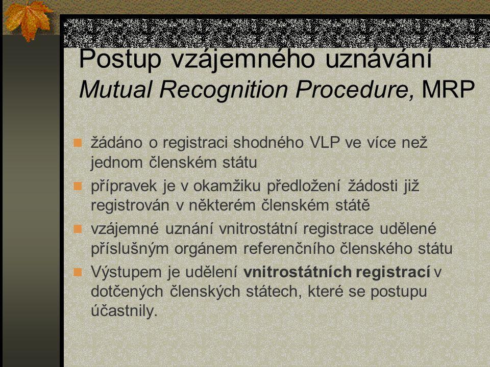 Postup vzájemného uznávání Mutual Recognition Procedure, MRP žádáno o registraci shodného VLP ve více než jednom členském státu přípravek je v okamžiku předložení žádosti již registrován v některém členském státě vzájemné uznání vnitrostátní registrace udělené příslušným orgánem referenčního členského státu Výstupem je udělení vnitrostátních registrací v dotčených členských státech, které se postupu účastnily.