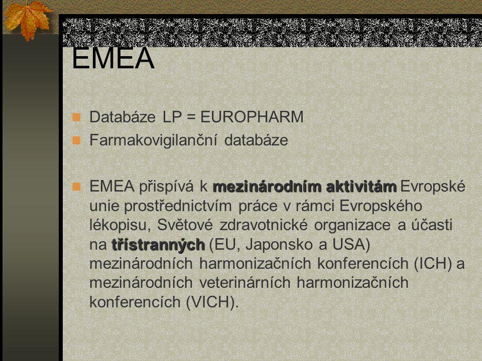 EMEA Databáze LP = EUROPHARM Farmakovigilanční databáze mezinárodním aktivitám třístranných EMEA přispívá k mezinárodním aktivitám Evropské unie prostřednictvím práce v rámci Evropského lékopisu, Světové zdravotnické organizace a účasti na třístranných (EU, Japonsko a USA) mezinárodních harmonizačních konferencích (ICH) a mezinárodních veterinárních harmonizačních konferencích (VICH).