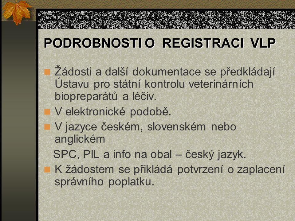 PODROBNOSTI O REGISTRACI VLP Žádosti a další dokumentace se předkládají Ústavu pro státní kontrolu veterinárních biopreparátů a léčiv.