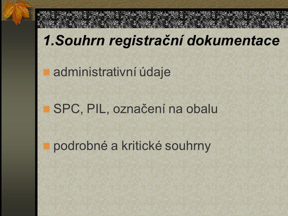 1.Souhrn registrační dokumentace administrativní údaje SPC, PIL, označení na obalu podrobné a kritické souhrny