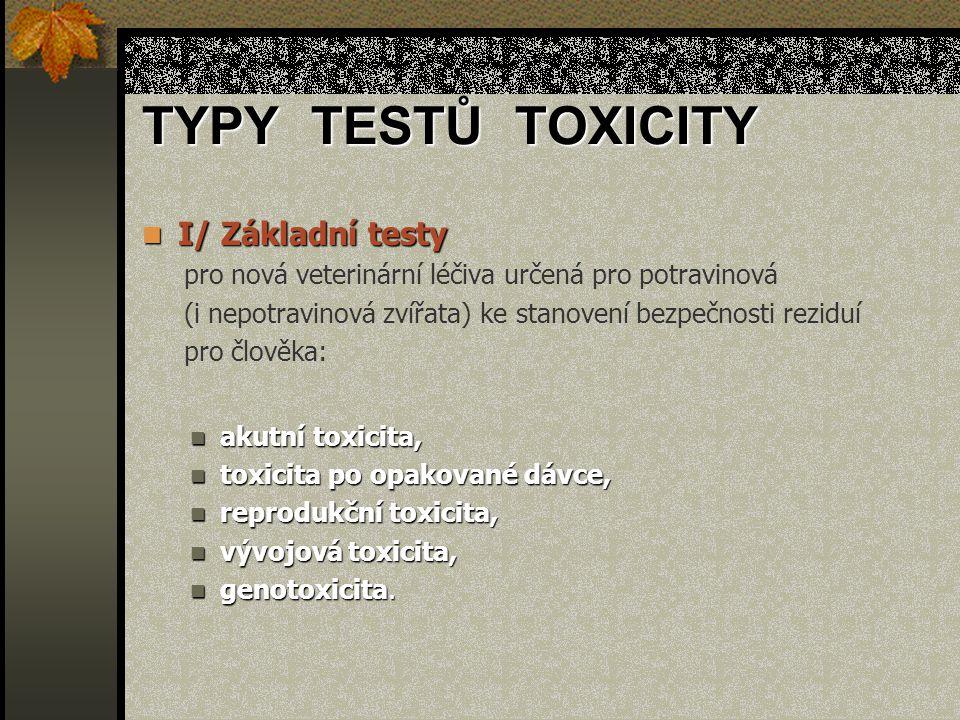 TYPY TESTŮ TOXICITY I/ Základní testy I/ Základní testy pro nová veterinární léčiva určená pro potravinová (i nepotravinová zvířata) ke stanovení bezpečnosti reziduí pro člověka: akutní toxicita, akutní toxicita, toxicita po opakované dávce, toxicita po opakované dávce, reprodukční toxicita, reprodukční toxicita, vývojová toxicita, vývojová toxicita, genotoxicita.