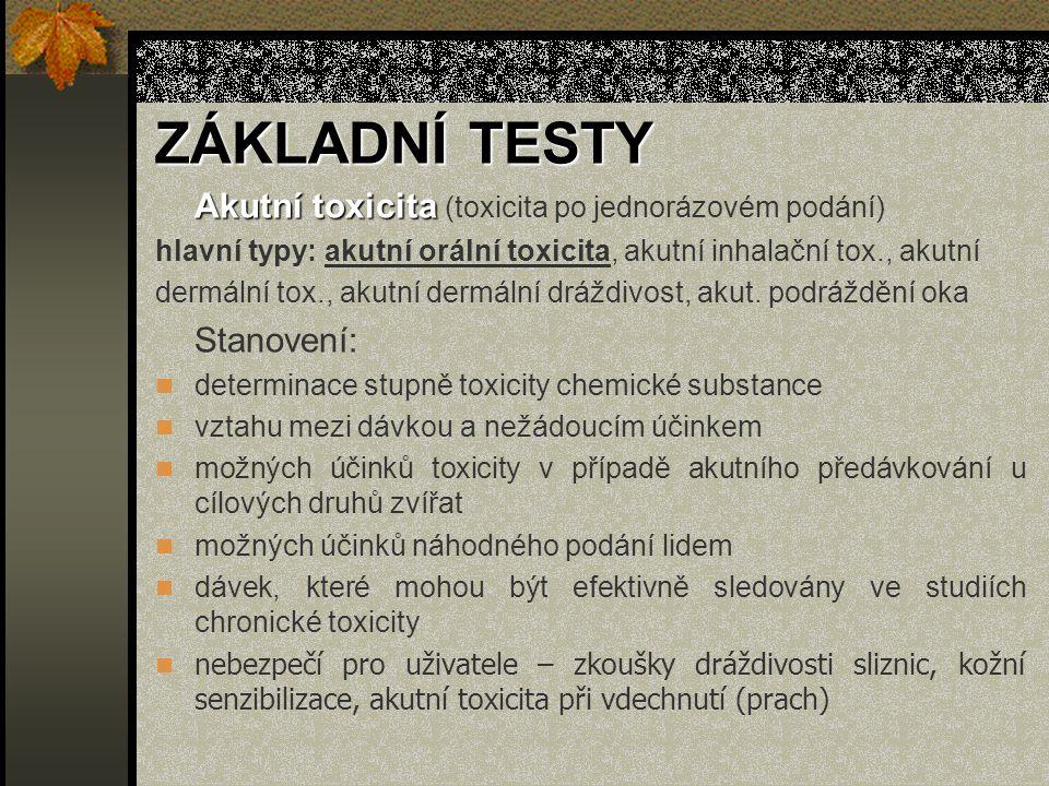 ZÁKLADNÍ TESTY Akutní toxicita Akutní toxicita (toxicita po jednorázovém podání) hlavní typy: akutní orální toxicita, akutní inhalační tox., akutní dermální tox., akutní dermální dráždivost, akut.