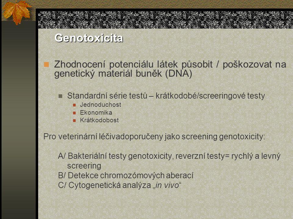 """Genotoxicita Zhodnocení potenciálu látek působit / poškozovat na genetický materiál buněk (DNA) Standardní série testů – krátkodobé/screeringové testy Jednoduchost Ekonomika Krátkodobost Pro veterinární léčivadoporučeny jako screening genotoxicity: A/ Bakteriální testy genotoxicity, reverzní testy= rychlý a levný screering B/ Detekce chromozómových aberací C/ Cytogenetická analýza """"in vivo"""
