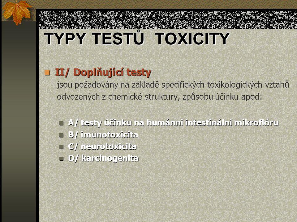 TYPY TESTŮ TOXICITY II/ Doplňující testy II/ Doplňující testy jsou požadovány na základě specifických toxikologických vztahů odvozených z chemické struktury, způsobu účinku apod: A/ testy účinku na humánní intestinální mikroflóru A/ testy účinku na humánní intestinální mikroflóru B/ imunotoxicita B/ imunotoxicita C/ neurotoxicita C/ neurotoxicita D/ karcinogenita D/ karcinogenita