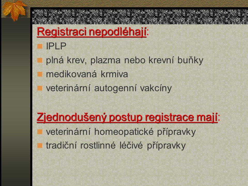 Registraci nepodléhají Registraci nepodléhají: IPLP plná krev, plazma nebo krevní buňky medikovaná krmiva veterinární autogenní vakcíny Zjednodušený postup registrace mají Zjednodušený postup registrace mají: veterinární homeopatické přípravky tradiční rostlinné léčivé přípravky