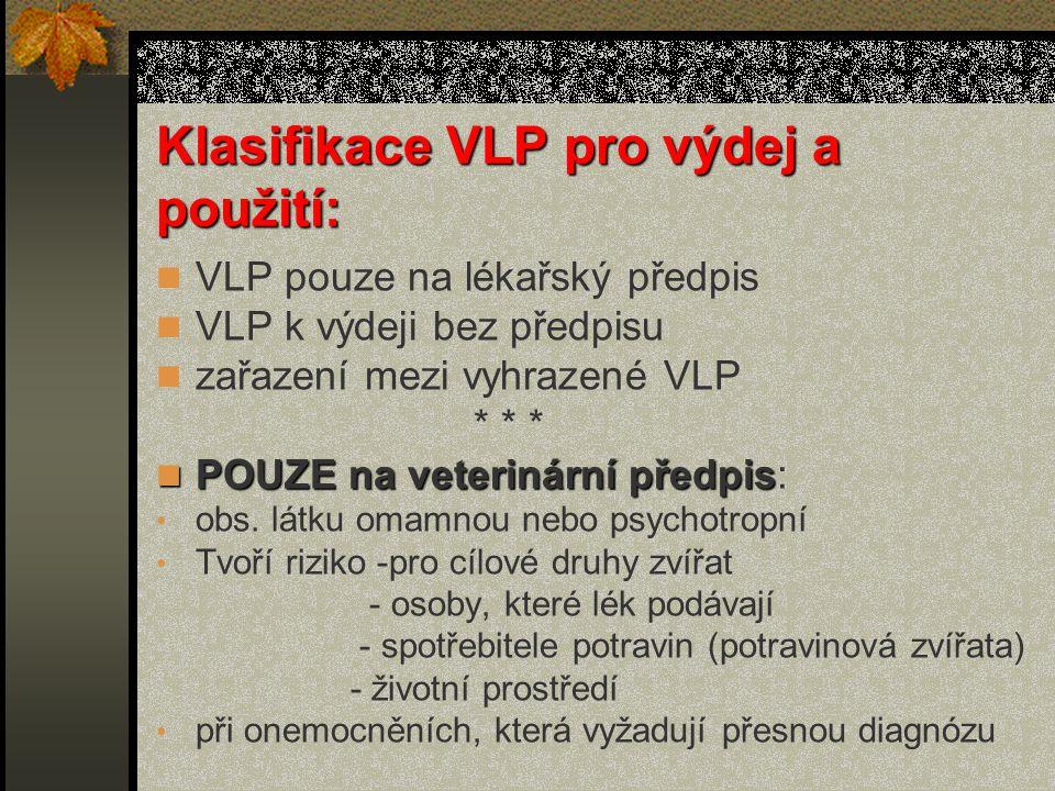 Klasifikace VLP pro výdej a použití: VLP pouze na lékařský předpis VLP k výdeji bez předpisu zařazení mezi vyhrazené VLP * * * POUZE na veterinární předpis POUZE na veterinární předpis: obs.