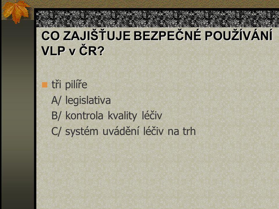 CO ZAJIŠŤUJE BEZPEČNÉ POUŽÍVÁNÍ VLP v ČR.