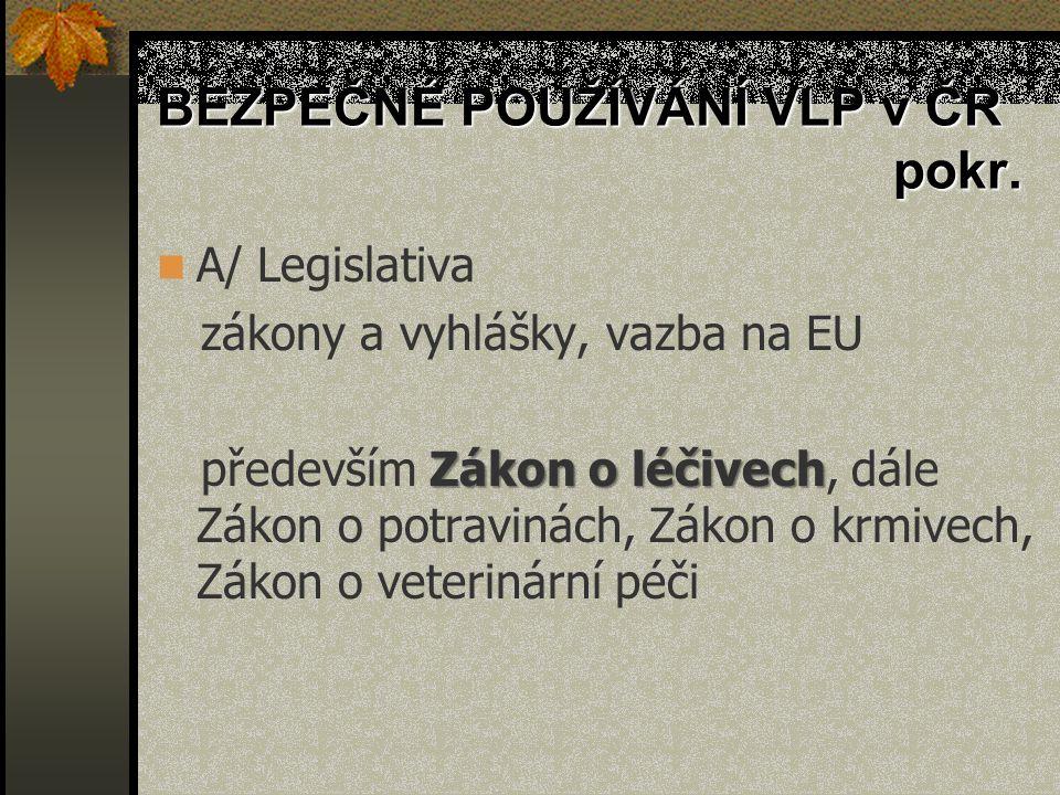 Centralizovaný postup Společenství Centralised Procedure, CP žádosti se podávají přímo EMEA posuzuje Výborem pro veterinární léčivé přípravky (CVMP) Evropská komise navrhne rozhodnutí o registraci a po konzultaci se Stálým výborem pro veterinární léčivé přípravky vydá rozhodnutí o registraci Společenství platí na území všech členských států ES → žadatel obdrží Evropský registrační výměr (European Marketing Authorisation) platný pro všechny státy EU ÚSKVBL: zajistí dle předpisu ES: zkoušení LP, kontrolu držitele rozhodnutí… eviduje a zveřejňuje LP takto registrované, přidělí kód