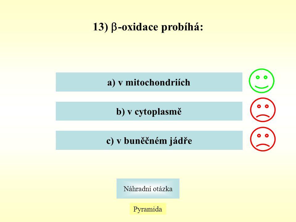 Pyramida Náhradní otázka 13)  -oxidace probíhá: a) v mitochondriích b) v cytoplasmě c) v buněčném jádře