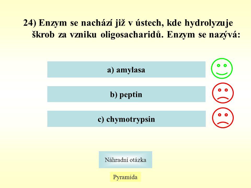 24) Enzym se nachází již v ústech, kde hydrolyzuje škrob za vzniku oligosacharidů. Enzym se nazývá: a) amylasa b) peptin c) chymotrypsin Pyramida Náhr