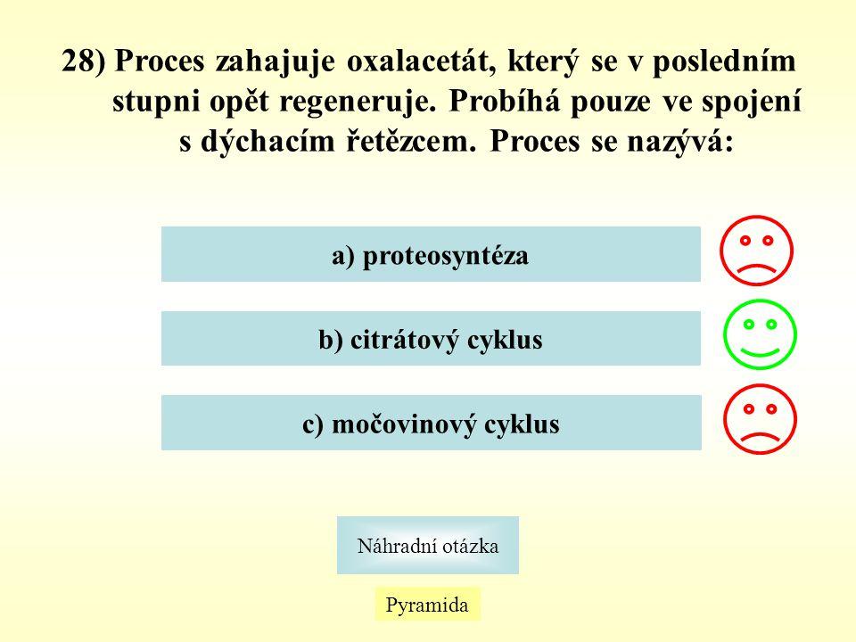 28) Proces zahajuje oxalacetát, který se v posledním stupni opět regeneruje. Probíhá pouze ve spojení s dýchacím řetězcem. Proces se nazývá: a) proteo