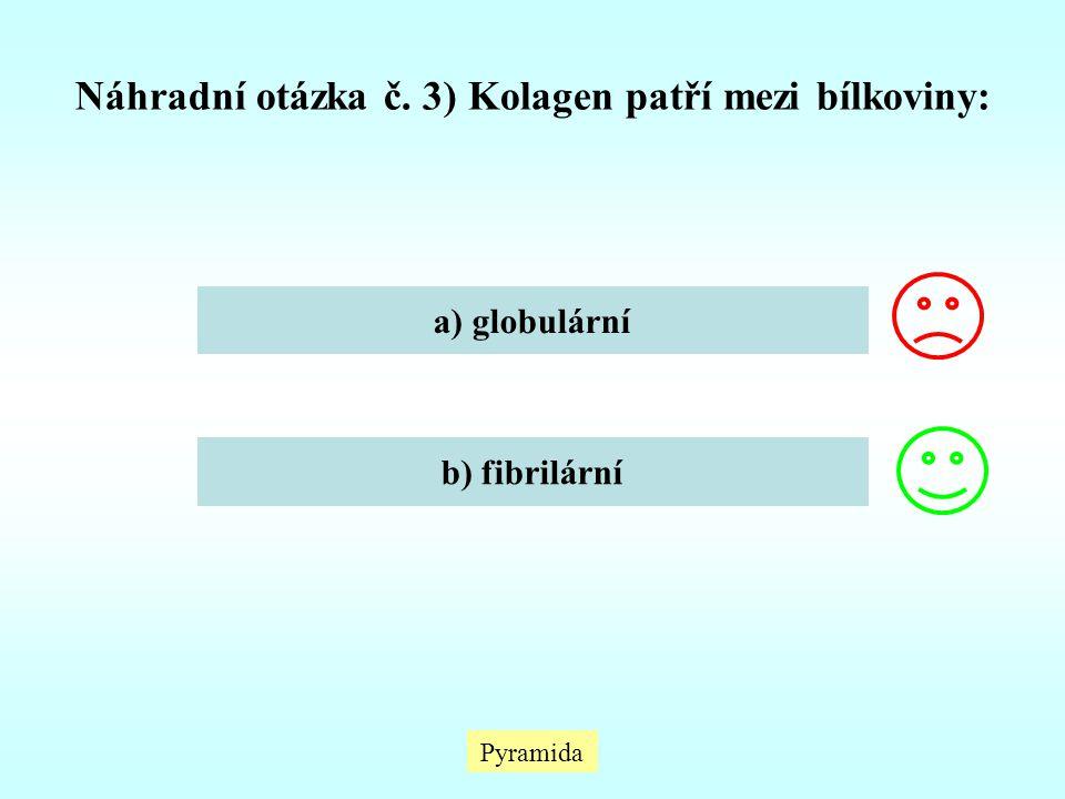 Pyramida Náhradní otázka č. 3) Kolagen patří mezi bílkoviny: a) globulární b) fibrilární