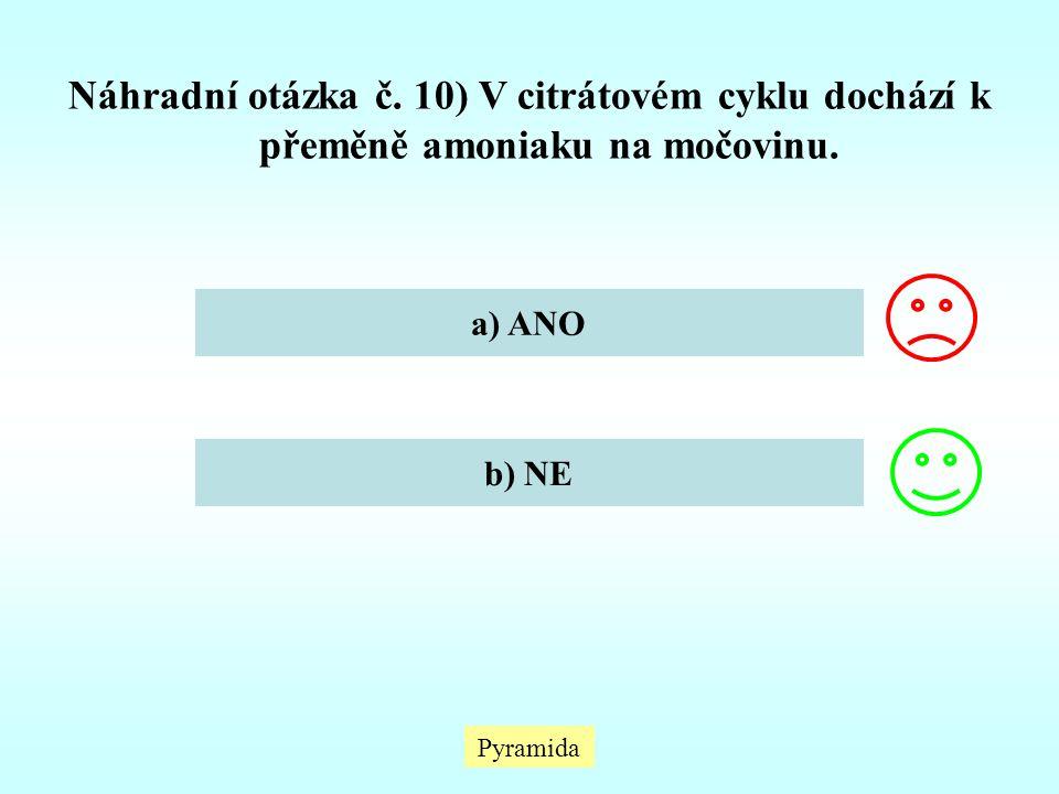 Pyramida Náhradní otázka č. 10) V citrátovém cyklu dochází k přeměně amoniaku na močovinu. a) ANO b) NE