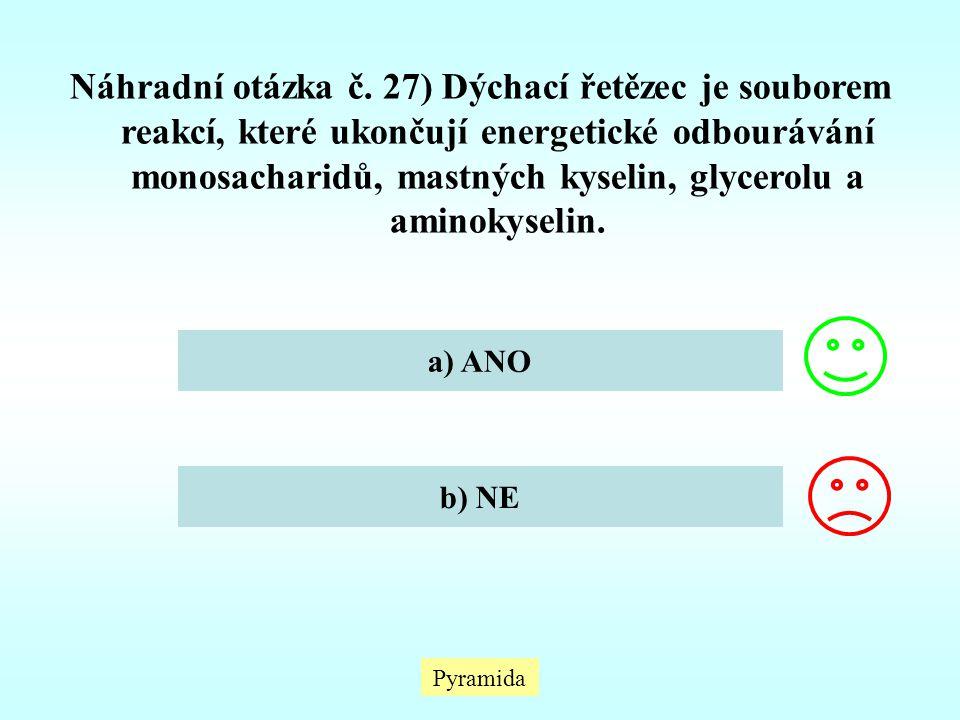Náhradní otázka č. 27) Dýchací řetězec je souborem reakcí, které ukončují energetické odbourávání monosacharidů, mastných kyselin, glycerolu a aminoky