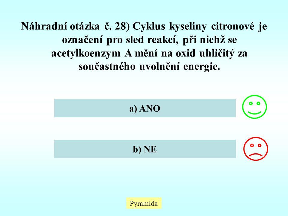 Náhradní otázka č. 28) Cyklus kyseliny citronové je označení pro sled reakcí, při nichž se acetylkoenzym A mění na oxid uhličitý za součastného uvolně