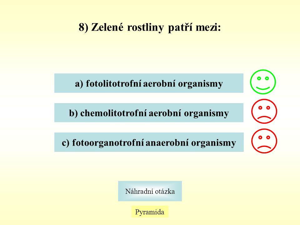Pyramida Náhradní otázka 8) Zelené rostliny patří mezi: a) fotolitotrofní aerobní organismy b) chemolitotrofní aerobní organismy c) fotoorganotrofní a