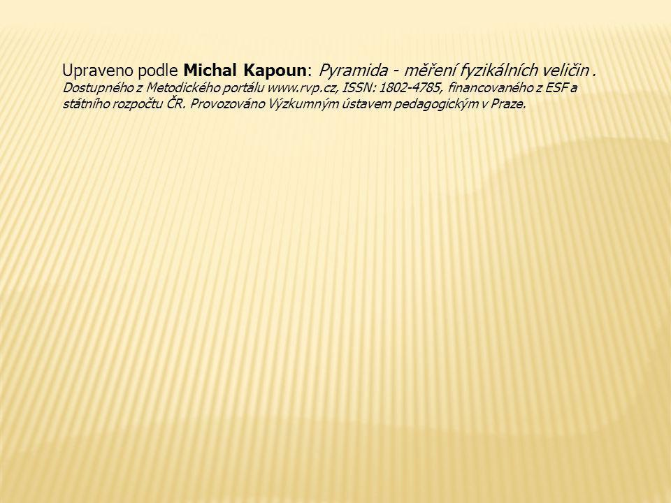 Upraveno podle Michal Kapoun: Pyramida - měření fyzikálních veličin. Dostupného z Metodického portálu www.rvp.cz, ISSN: 1802-4785, financovaného z ESF