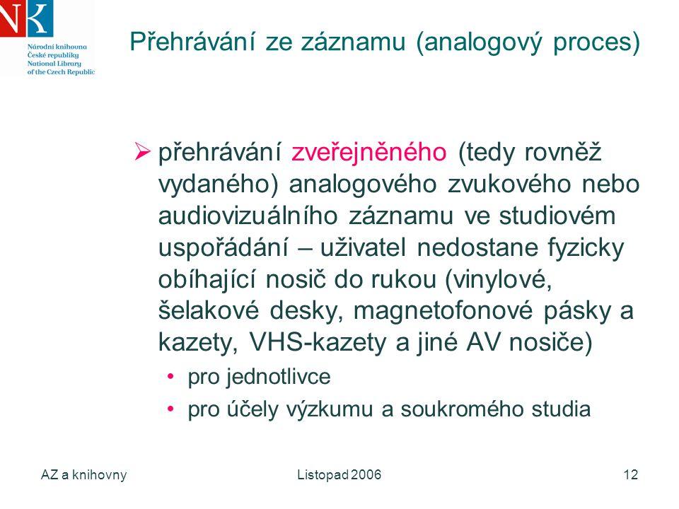 AZ a knihovnyListopad 200612 Přehrávání ze záznamu (analogový proces)  přehrávání zveřejněného (tedy rovněž vydaného) analogového zvukového nebo audi