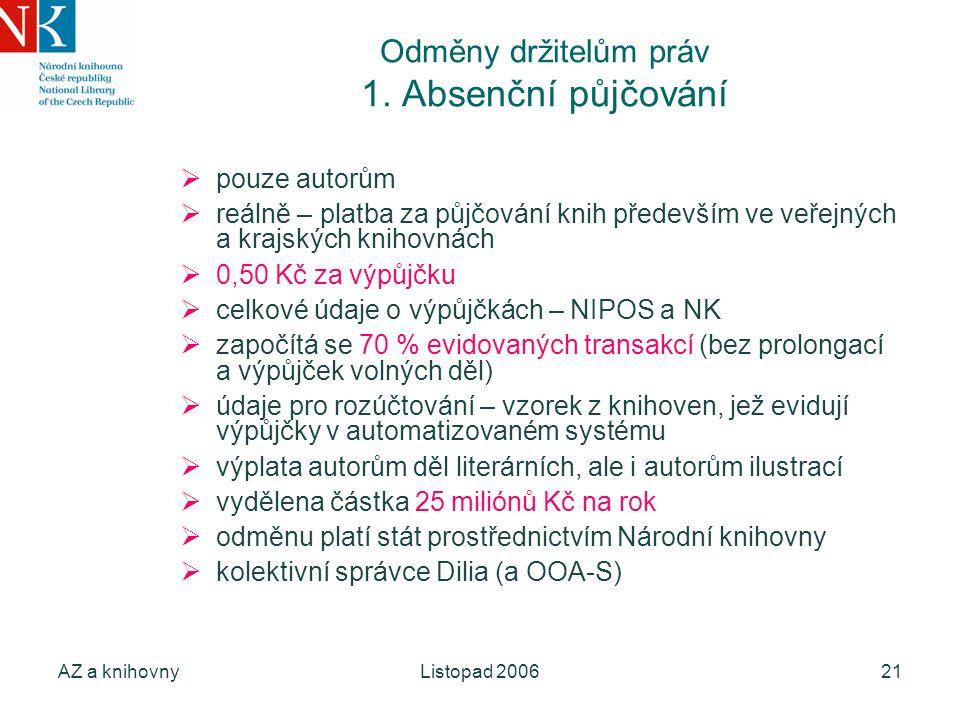 AZ a knihovnyListopad 200621 Odměny držitelům práv 1.
