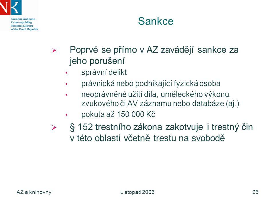 AZ a knihovnyListopad 200625 Sankce  Poprvé se přímo v AZ zavádějí sankce za jeho porušení správní delikt právnická nebo podnikající fyzická osoba ne
