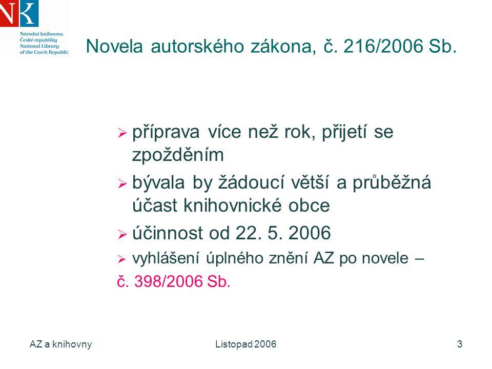 AZ a knihovnyListopad 20063 Novela autorského zákona, č. 216/2006 Sb.  příprava více než rok, přijetí se zpožděním  bývala by žádoucí větší a průběž