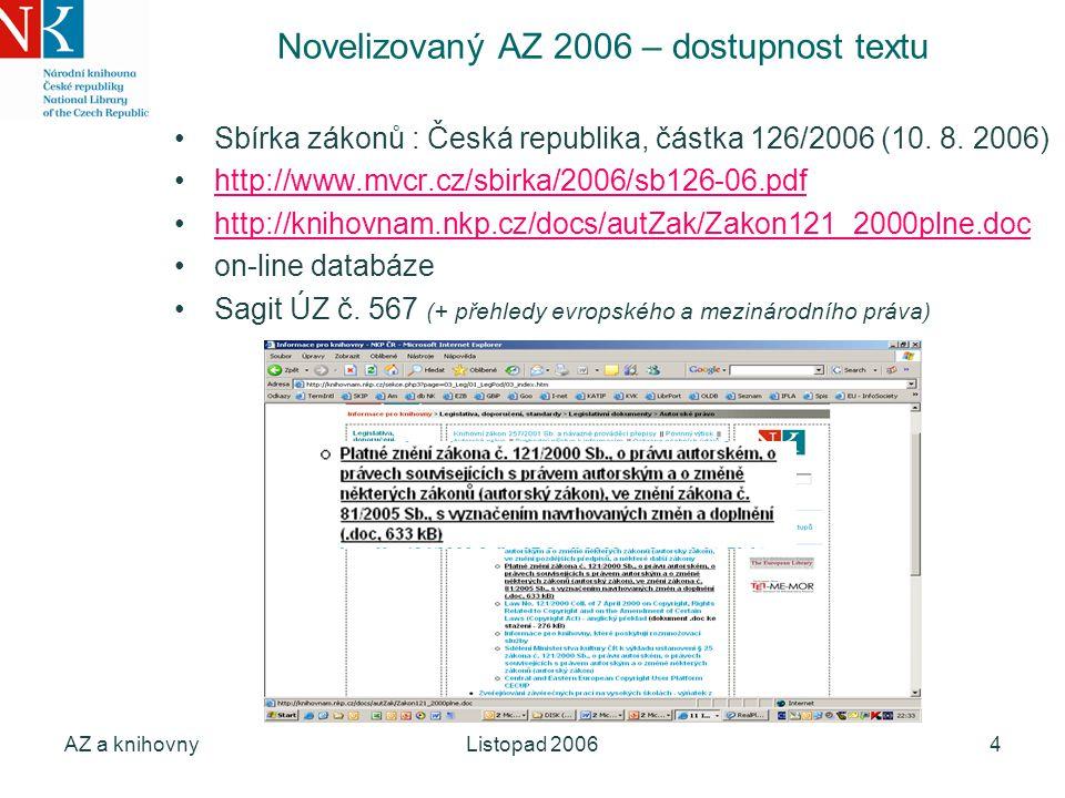 AZ a knihovnyListopad 20064 Novelizovaný AZ 2006 – dostupnost textu Sbírka zákonů : Česká republika, částka 126/2006 (10. 8. 2006) http://www.mvcr.cz/