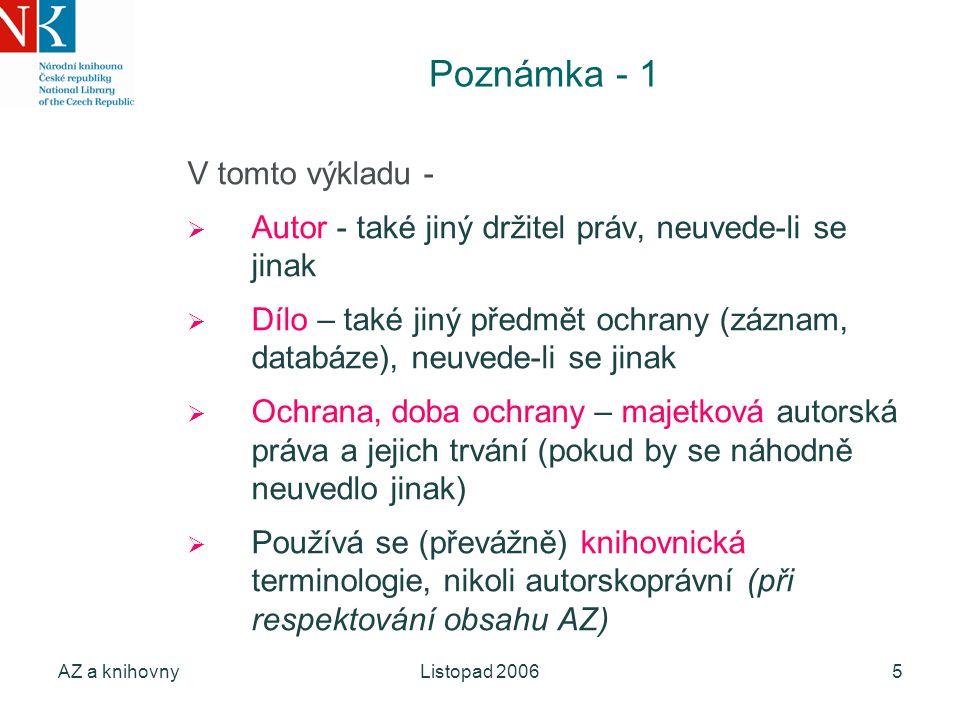 AZ a knihovnyListopad 20065 Poznámka - 1 V tomto výkladu -  Autor - také jiný držitel práv, neuvede-li se jinak  Dílo – také jiný předmět ochrany (z