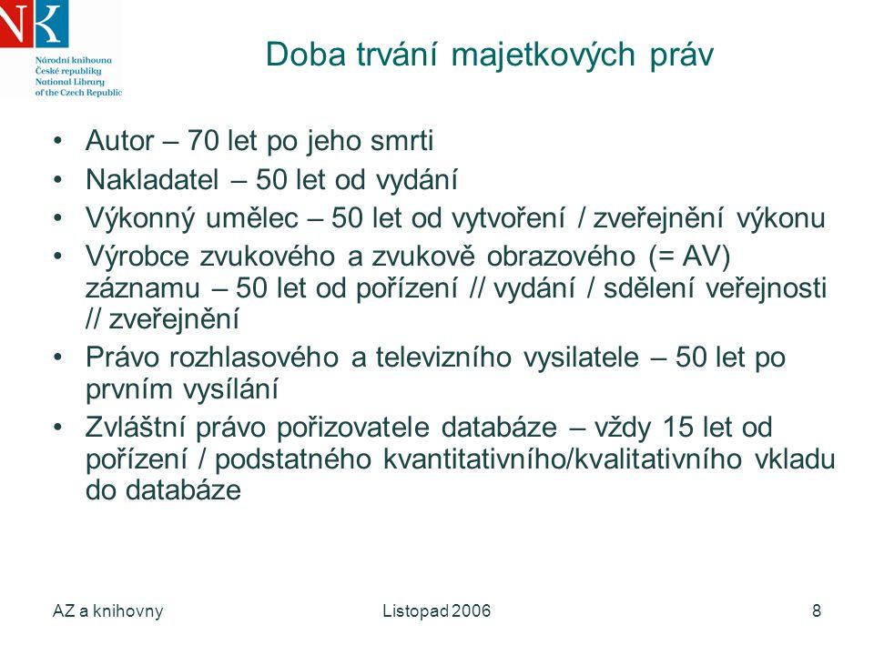 AZ a knihovnyListopad 20069 Zpřístupňování obsahu 1.půjčování (uživatel dostane do rukou fyzický nosič) a)absenční b)prezenční půjčováním počítačového programu není, umožňuje-li pouze vnímání vlastního obsahu dokumentu na nosiči 2.přehrávání ze záznamu (analogový proces) 3.zpřístupňování v počítačové síti a)lokální b)vystavení v Internetu