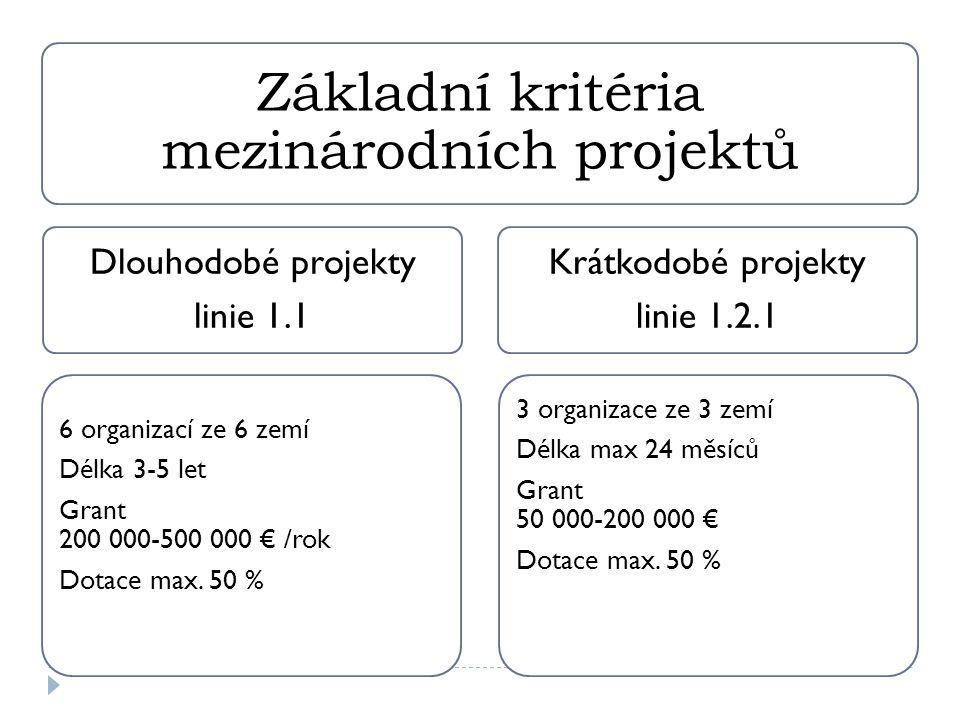 Základní kritéria mezinárodních projektů Dlouhodobé projekty linie 1.1 6 organizací ze 6 zemí Délka 3-5 let Grant 200 000-500 000 € /rok Dotace max.