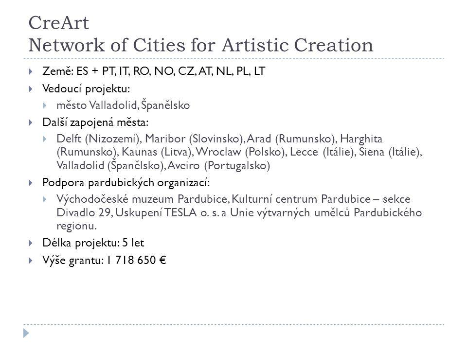 CreArt Network of Cities for Artistic Creation  Země: ES + PT, IT, RO, NO, CZ, AT, NL, PL, LT  Vedoucí projektu:  město Valladolid, Španělsko  Další zapojená města:  Delft (Nizozemí), Maribor (Slovinsko), Arad (Rumunsko), Harghita (Rumunsko), Kaunas (Litva), Wroclaw (Polsko), Lecce (Itálie), Siena (Itálie), Valladolid (Španělsko), Aveiro (Portugalsko)  Podpora pardubických organizací:  Východočeské muzeum Pardubice, Kulturní centrum Pardubice – sekce Divadlo 29, Uskupení TESLA o.