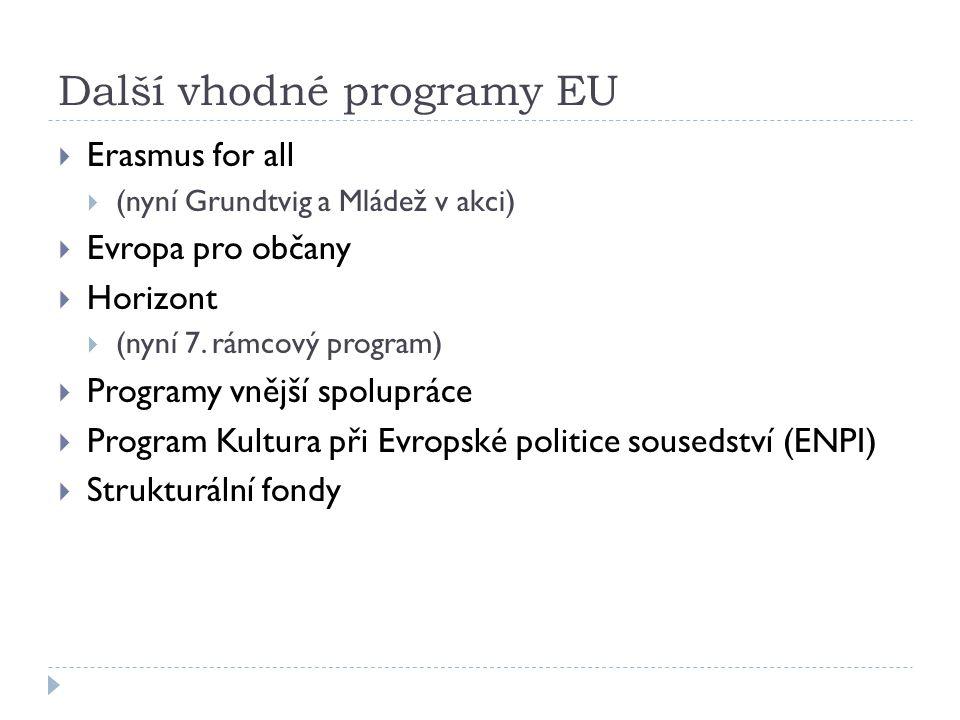 Další vhodné programy EU  Erasmus for all  (nyní Grundtvig a Mládež v akci)  Evropa pro občany  Horizont  (nyní 7.