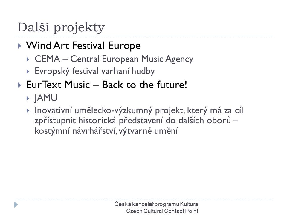 Další projekty  Wind Art Festival Europe  CEMA – Central European Music Agency  Evropský festival varhaní hudby  EurText Music – Back to the futur