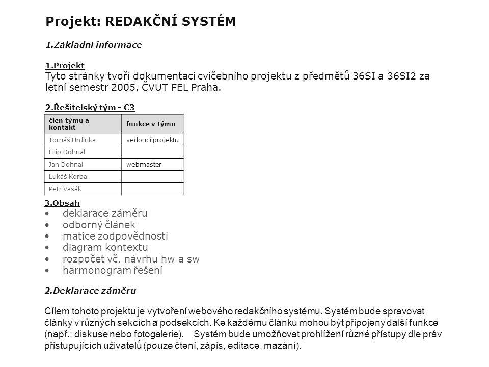 Projekt: REDAKČNÍ SYSTÉM 1.Základní informace 1.Projekt Tyto stránky tvoří dokumentaci cvičebního projektu z předmětů 36SI a 36SI2 za letní semestr 2005, ČVUT FEL Praha.
