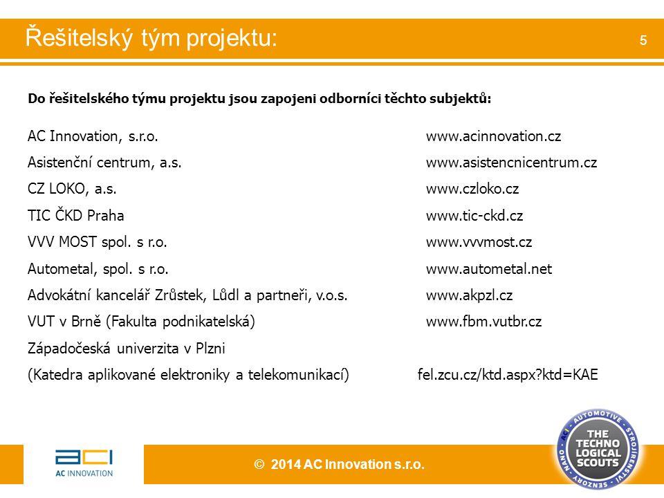 Do řešitelského týmu projektu jsou zapojeni odborníci těchto subjektů: AC Innovation, s.r.o. www.acinnovation.cz Asistenční centrum, a.s. www.asistenc