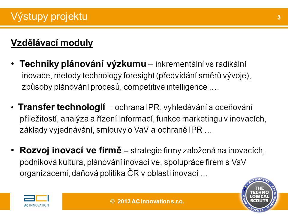Vzdělávací moduly Techniky plánování výzkumu – inkrementální vs radikální inovace, metody technology foresight (předvídání směrů vývoje), způsoby plánování procesů, competitive intelligence ….